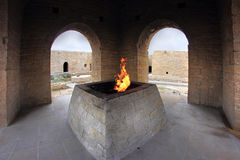 The main altar in the Ateshgah temple in Azerbaijan. The Ateshgah, often called the Fire Temple of Baku is a castle-like religious temple in Surakhani, a suburb Stock Images