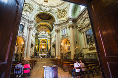 Main altar of baroque church Santa Maria della Vita Royalty Free Stock Image