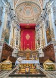 Main altar in the Cathedral of San Pietro Saint Peter in Modica. Sicily, southern Italy. royalty free stock photography