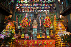 Main altar at Pak Tai Temple, Wanchai, Hong Kong Royalty Free Stock Photography
