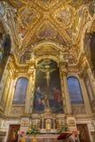 Main altar and presbytery of baroque church San Girolamo della certosa. Stock Image