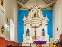 Main altar in San Roque church in Cartagena, Colombia. Stock Photography