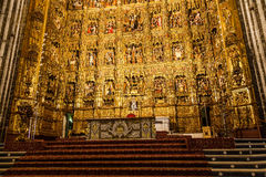 Main Altar in Seville Cathedral. Seville, Spain. Main Altar made of gold, 400 years old Stock Photos