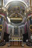 Main altar of St Pauls Cathedral in Mdina, Malta. Royalty Free Stock Photography