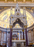 The main altar, a throne for worship in the catholic church cathedral basilica of Saint Paul in Rome, Italy Royalty Free Stock Images