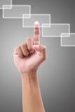 Main appuyant sur un bouton sur l'écran tactile Photo libre de droits