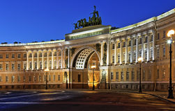 The main arch at Palace Square. Night panorama of the main arch at Palace Square in St. Petersburg Stock Images