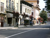 Main asphalt road in Lovran near Opatija in Croatia Royalty Free Stock Images