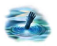 Main atteignant à l'extérieur de l'eau Images libres de droits