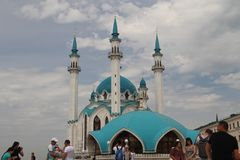 The main attraction of the Kazan Kremlin is the Kul Sharif Mosque stock photos