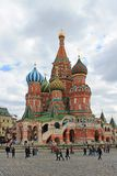 St. Basil`s Cathedral on red square in Moscow stock photography