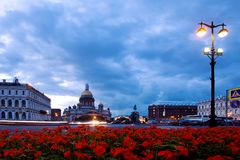 The main attraction of St. Petersburg St. Isaac`s Cathedral twilight. The main attraction of St. Petersburg. St. Isaac`s Cathedral twilight. Summer, blue sky stock photo