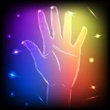 Main au néon cinq Image libre de droits