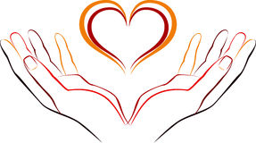 Main avec amour illustration stock