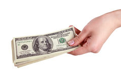 Main avec de l'argent sur le fond blanc (d'isolement) Photographie stock