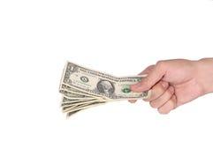 Main avec des dollars Images libres de droits