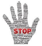 Main avec des mots Image libre de droits