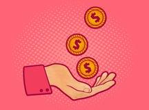 Main avec des pièces de monnaie illustration stock