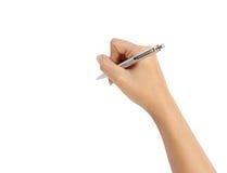 Main avec l'écriture de stylo sur le fond blanc Images libres de droits
