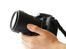 Main avec l'appareil-photo Images stock