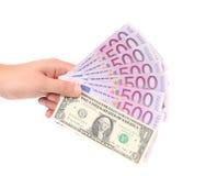 Main avec l'argent Image libre de droits