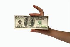 Main avec l'argent Photos libres de droits