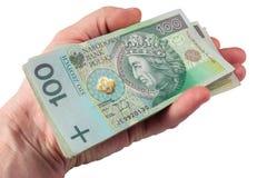 Main avec l'argent polonais images stock