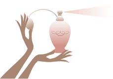 Main avec la bouteille de parfum,   illustration de vecteur