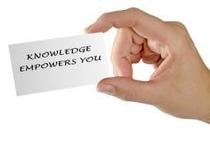 Main avec la carte au sujet de la connaissance image libre de droits