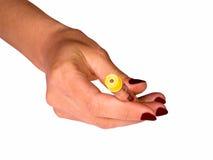 Main avec la fiole d'insuline Image stock