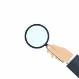 Main avec la loupe Concept de la recherche, audit, analyse, exploration, examen minutieux illustration de vecteur
