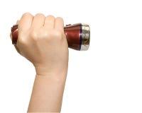 Main avec la petite torche Photo stock