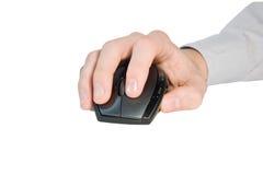 Main avec la souris d'ordinateur Photographie stock