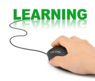 Main avec la souris d'ordinateur et l'étude de mot Image stock