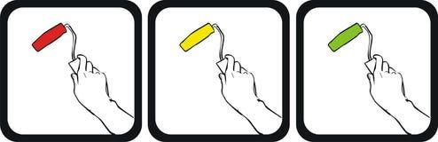 Main avec le balai de rouleau de peinture. Image stock