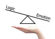 Main avec le concept de gauche à droite de cerveau de la logique et de l'émotion Photo libre de droits