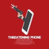 Main avec le concept menaçant de téléphone d'arme à feu illustration de vecteur