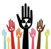 Main avec le concept nucléaire Photo stock