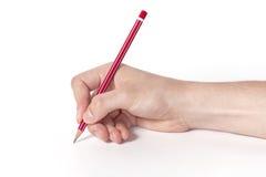 Main avec le crayon photos libres de droits