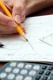 Main avec le crayon Photo stock