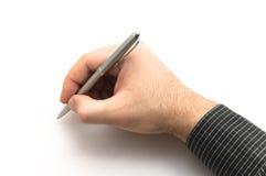 Main avec le crayon lecteur noir en métal d'argent de fixation de chemise Photos stock