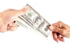 Main avec le dollar Photo stock