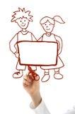Main avec le garçon et la fille rouges de retrait de repère Photo stock