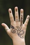 Main avec le henné Photographie stock