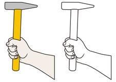 Main avec le marteau illustration libre de droits