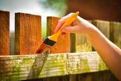 Main avec le pinceau peignant la barrière en bois Photographie stock