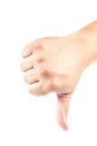 Main avec le pouce abaissé sur le fond blanc photographie stock libre de droits
