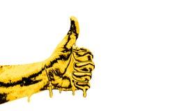 Main avec le pouce vers le haut d'isolement sur le fond blanc Signe correct par l'homme Comme la main photographie stock libre de droits