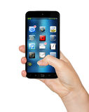 Main avec le rendu du téléphone portable 3D Photo stock