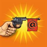Main avec le revolver, l'email et la transmission de messages illustration libre de droits